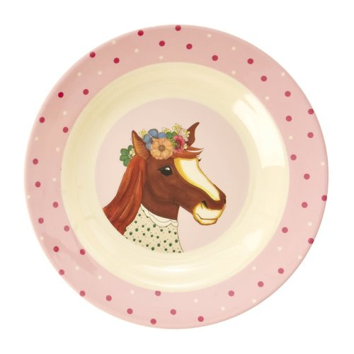 Rice Melamine Kids diep bord Farm Animals roze