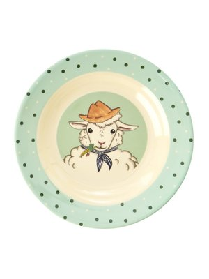 Rice Melamine Kids diep bord Farm Animals groen