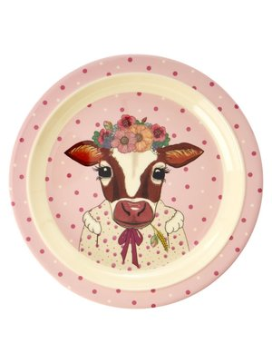 Rice Melamine Kids lunch bord  Farm Animals roze