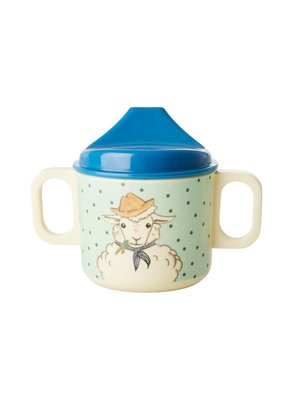 Rice Melamine Kids Tuit beker 2 handvaten Farm Animals groen