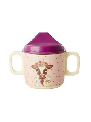 Rice Melamine Kids Tuit beker 2 handvaten Farm Animals roze