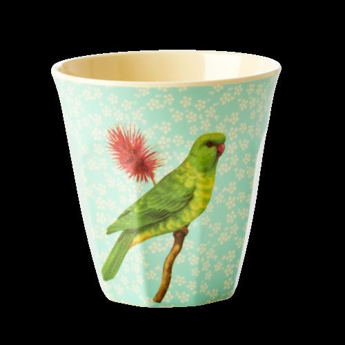 Rice Melamine beker Vintage Bird - green