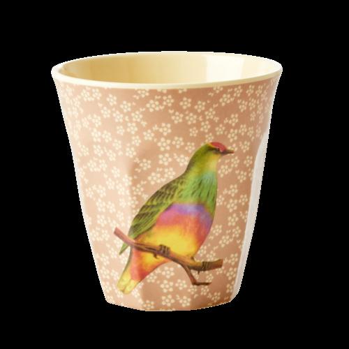 Rice Melamine beker Vintage Bird - nougat