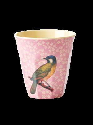 Rice Melamine beker Vintage Bird - pink