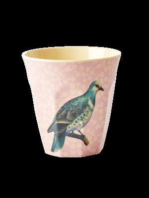 Rice Melamine beker Vintage Bird - soft pink