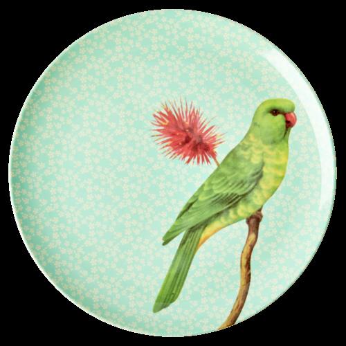Rice Melamine diner bord Vintage Bird - green