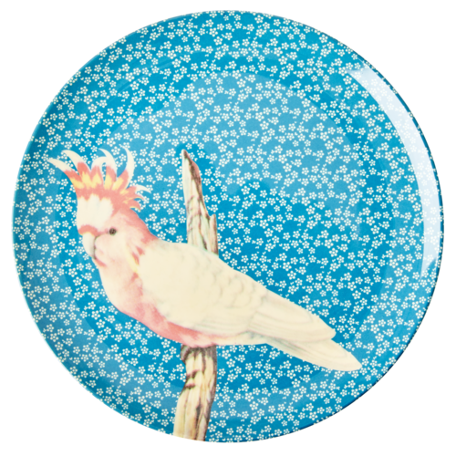 Rice Melamine diner bord Vintage Bird - blue