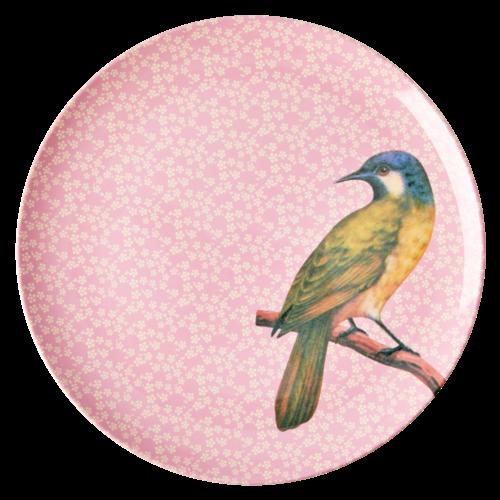 Rice Melamine diner bord Vintage Bird - pink