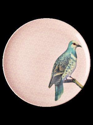 Rice Melamine diner bord Vintage Bird - soft pink