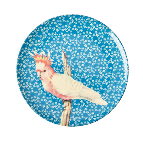 Rice Melamine lunch bord Vintage Bird - blue