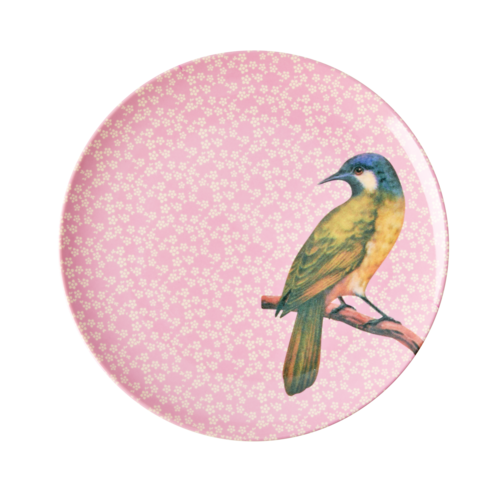 Rice Melamine lunch bord Vintage Bird - pink