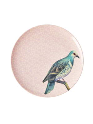 Rice Melamine lunch bord Vintage Bird - soft pink