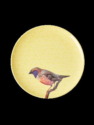 Rice Melamine lunch bord Vintage Bird - yellow