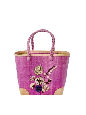 Rice Raffia Shopper Flower Embroidery plum