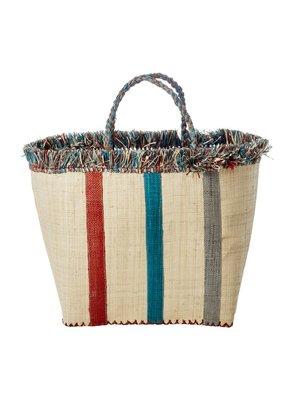 Rice Shopper raffia Stripes blue