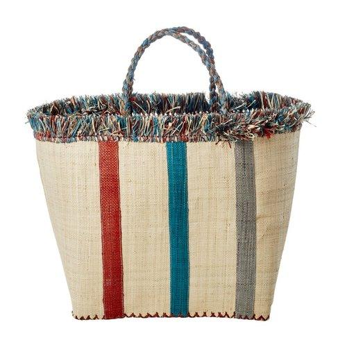 Rice Raffia Shopper Stripes blue
