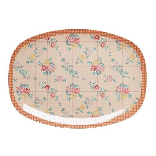 Rice Melamine ovaal bord Embroidered Flower