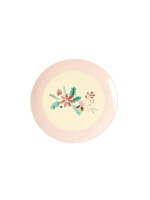Rice Melamine dessert bord Christmas - roze