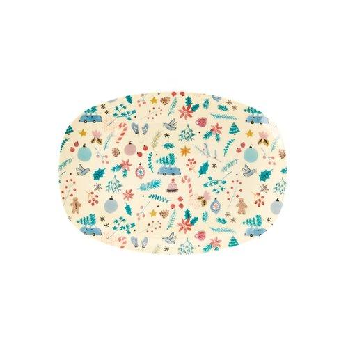 Rice Melamine ovaal bord S Christmas