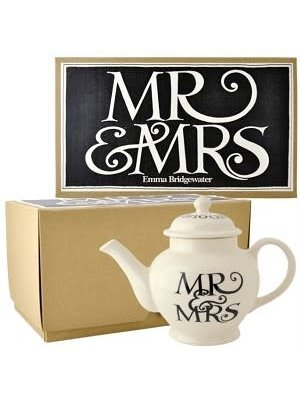 Emma Bridgewater 2 Mug Teapot Mr & Mrs Black Toast