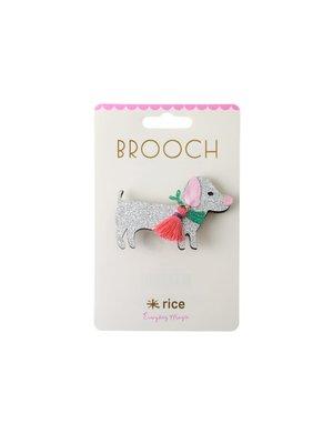 Rice Broche Hondje zilver