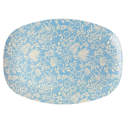 Rice Melamine ovaal bord Fern & Flower blauw
