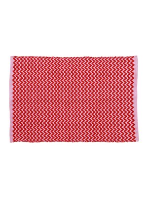 Rice Recycled Plastic Vloermat Red and Pink ZigZag