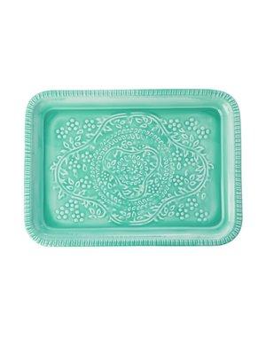 Rice Dienblad metaal rechthoek Groen Embossed