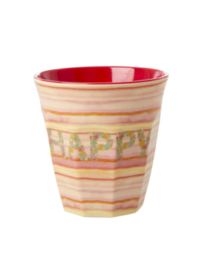 Rice Melamine beker Happy pink