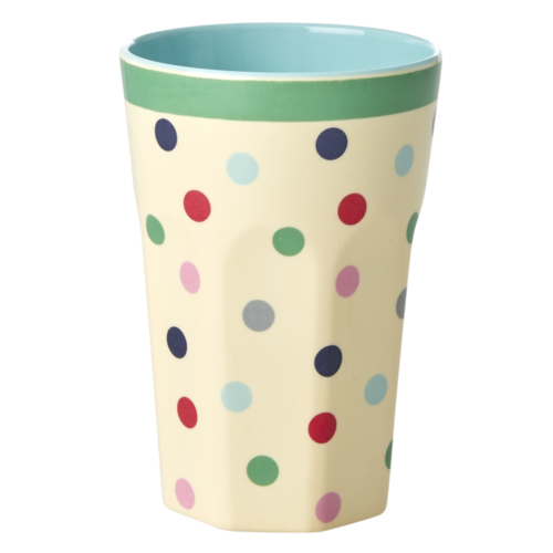 Rice Melamine Tall beker 'Believe in Red Lipstick' Dots