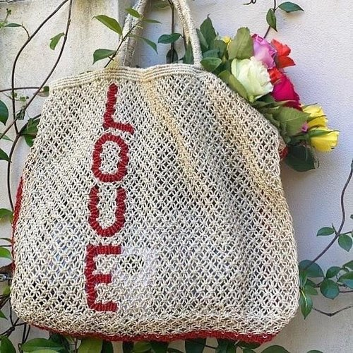 the Jacksons Shopper Jute L Love vertical down natural/red