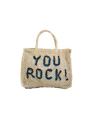 the Jacksons Shopper Jute S You Rock! natural/turquoise/black