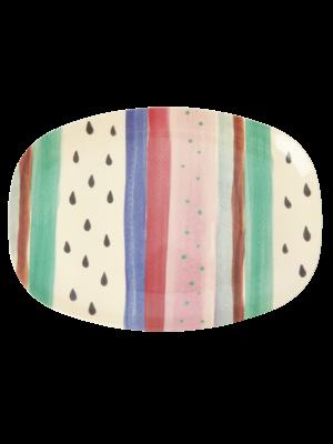 Rice Melamine ovaal bord Louises Stripe