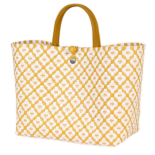 Handed By Shopper Motif L mustard/white