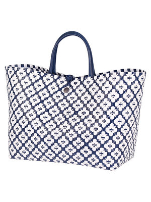Handed By Shopper Motif L navy/white