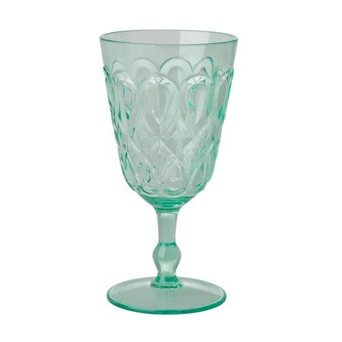Rice Wijnglas Swirly pastel groen