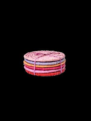 Rice Onderzetters Raffia rood roze set/6