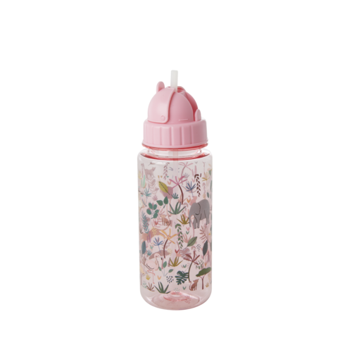 Rice Drinkfles plastic Jungle Animals roze