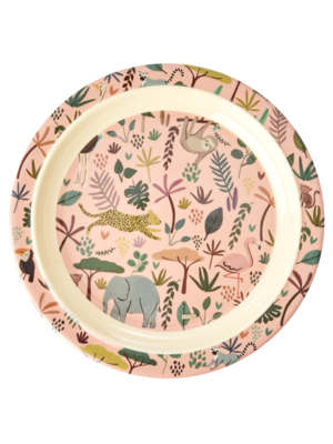 Rice Melamine Kids lunch bord All Over Jungle Animals coral