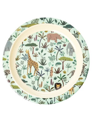 Rice Melamine Kids lunch bord All Over Jungle Animals groen