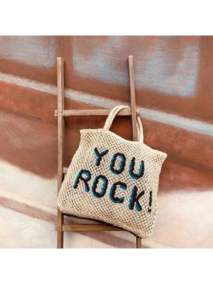 the Jacksons Shopper Jute L You Rock! natural/turquoise/black