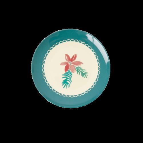 Rice Melamine dessert bord Poinsettia Christmas