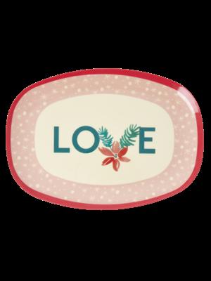 Rice Melamine oval plate Pink Love Christmas