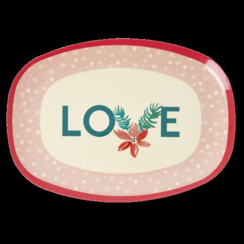Rice Melamine ovaal bord  Pink Love Christmas