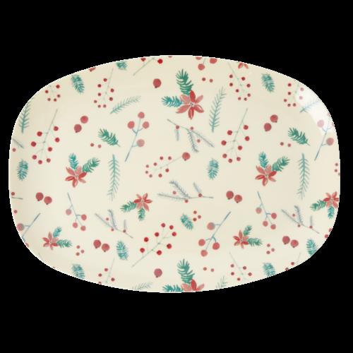 Rice Melamine ovaal bord Poinsettia Christmas