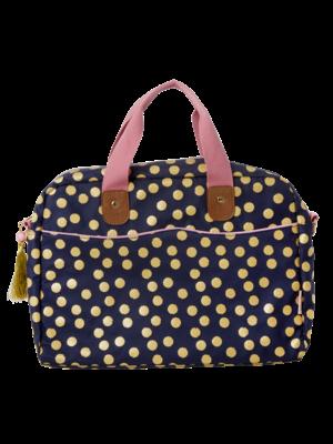 Rice Laptop tas blauw met gouden dots & Lipstick