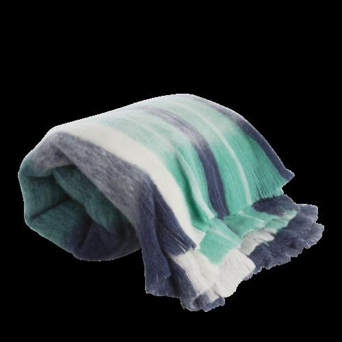 Rice Plaid wol mix Midnight Blue check 125x150