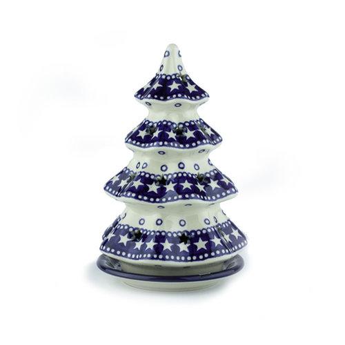Bunzlau Castle Kerstboom theelichthouder 22cm Blue Stars