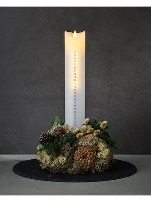 Sirius Sara Advents kaars LED Ø4,8xh29cm wit/zilver