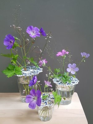 Piet Design Delfts blauwe Bloemenroosters set/3